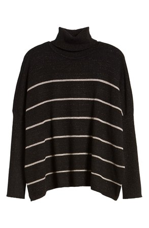 cupcakes and cashmere Sydney Metallic Stripe Turtleneck Sweater | Nordstrom