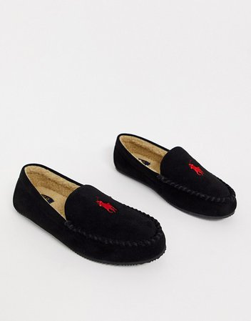 Ralph Lauren Desi moccasin slipper in black | ASOS