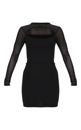 Black Mesh Bodice Bodycon Dress | PrettyLittleThing USA