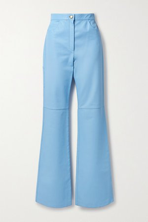Leather Straight-leg Pants - Light blue