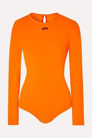 Off White Printed Fleece Bodysuit - Orange