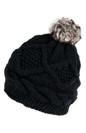 Nirvanna Designs Diamond Stitch Pom Beanie | Nordstrom