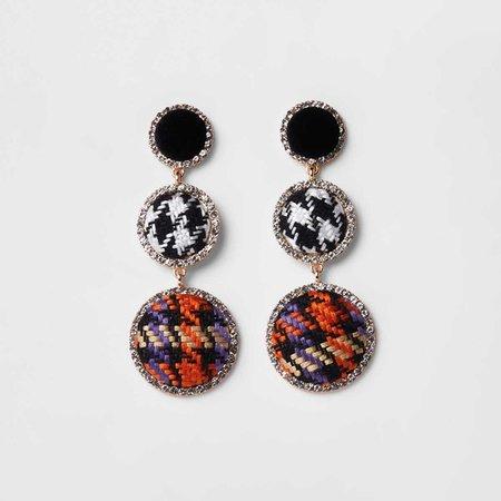 Black check rhinestone boucle drop earrings - Earrings - Jewelry - women