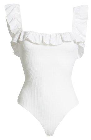 CAPULET Bookman Ruffle Neck Sleeveless Stretch Cotton Bodysuit | Nordstrom