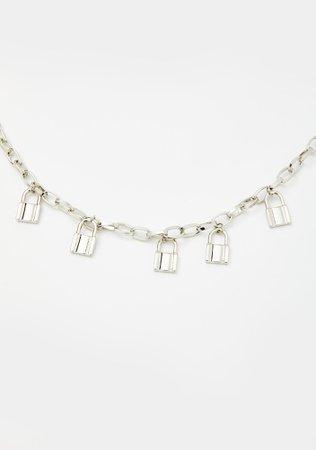 Pad Lock Chain Necklace - Silver   Dolls Kill