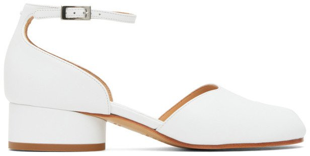 White Tabi Ankle Strap Heels