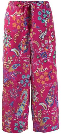floral pattern cropped trousers