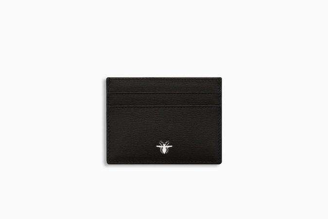 Black cork calfskin card holder with bee signature - Dior
