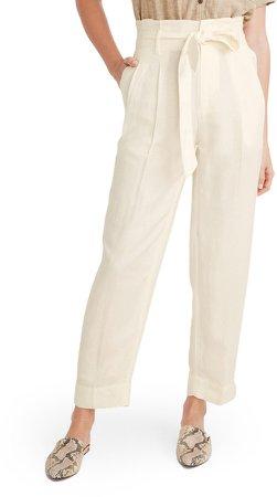 Paperbag Waist Linen Blend Pants
