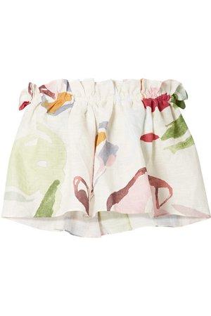Cult Gaia | Nadjia strapless cropped floral-print linen top | NET-A-PORTER.COM