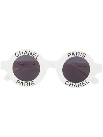 Chanel Vintage Logo Stamped Round Sunglasses - Farfetch