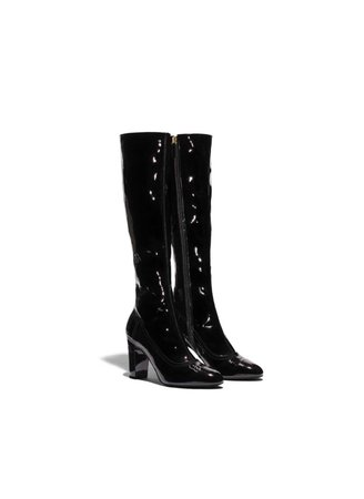 chanel patent boots