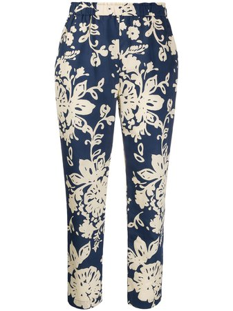 Blue Redvalentino Floral-Print Cropped Trousers For Women | Farfetch.com