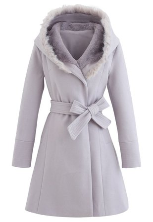 Faux Fur Hooded Wool-Blend Flare Coat in Lavender - Retro, Indie and Unique Fashion