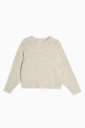 Oatmeal Knitted Crew Neck Jumper | Topshop tan