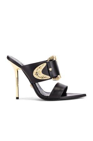 VERSACE Buckle Heels in Black & Gold   FWRD