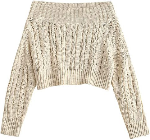 ZAFUL Women's Off Shoulder Long Sleeve Chunky Cable Knit Crop Sweater Pullover (Wine Red) at Amazon Women's Clothing store