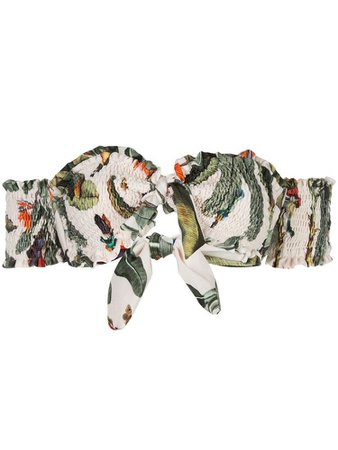 PATBO tropical-print shirred bandeau bikini top