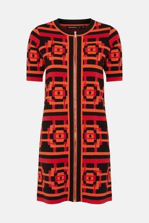 Abstract Jacquard Knitted Dress | Karen Millen
