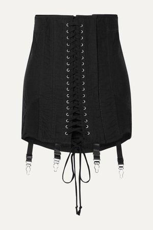 Black Gamine lace-up cotton-twill mini skirt | Orseund Iris | NET-A-PORTER