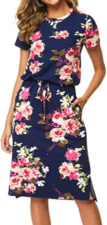 Womens Floral Short Sleeve Work Casual Midi Dress with Pockets White S at Amazon Women's Clothing store