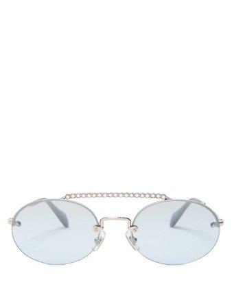 Oval-shaped crystal-embellished sunglasses | Miu Miu | MATCHESFASHION.COM UK