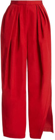 Rosie Assoulin Pleated Cotton-Blend Wide-Leg Pants
