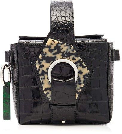 Resin-Trimmed Croc-Effect Leather Bag