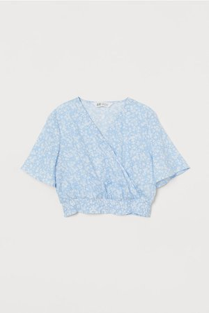 Patterned Wrap-front Blouse - Light blue/floral - Kids | H&M US