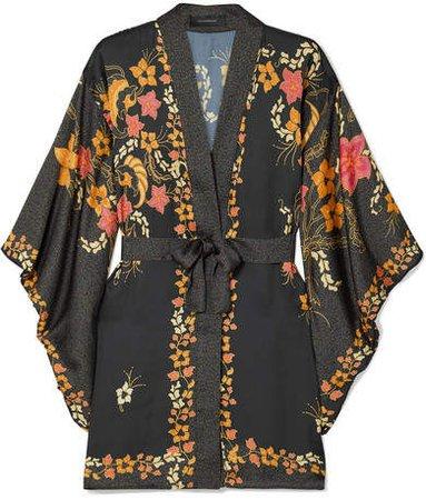 Celia Dragouni - Floral-print Satin Kimono - Black