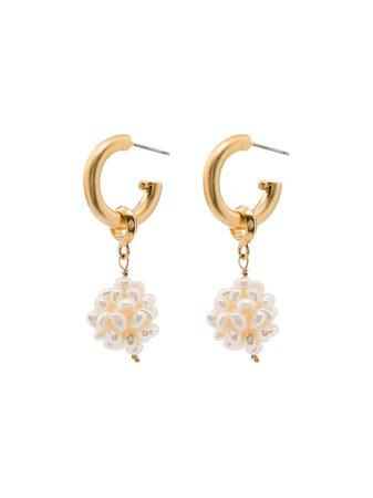 Brinker & Eliza gold-plated Greta Pearl Drop Hoop Earrings - Farfetch