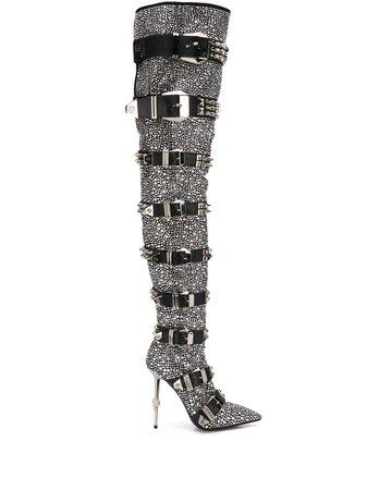 Philipp Plein Crystal-Embellished Knee-High Boots S20SWSD0258PLE009N Black | Farfetch