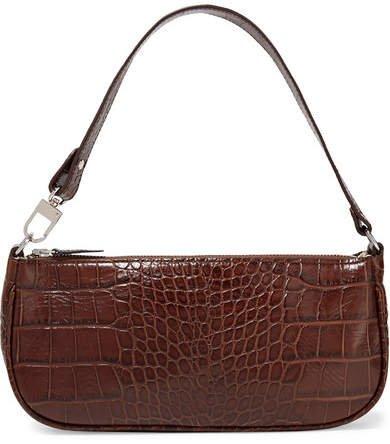 BY FAR - Rachel Croc-effect Leather Shoulder Bag - Dark brown