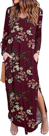 GRECERELLE Women's Casual Loose Pocket Long Dress Long Sleeve Split Maxi Dresses Purple Gray Large at Amazon Women's Clothing store