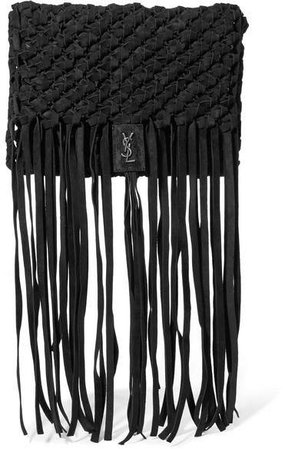 Fringed Woven Suede Clutch - Black