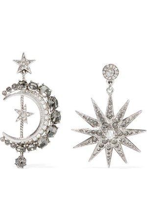 Oscar de la Renta | Moon and Stars silver-plated crystal earrings | NET-A-PORTER.COM