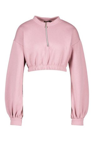 Mix & Match 1/2 Zip Crop Balloon Sleeve Sweater | boohoo
