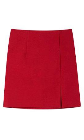 Knit mini skirt - Women's Just in | Stradivarius United States red
