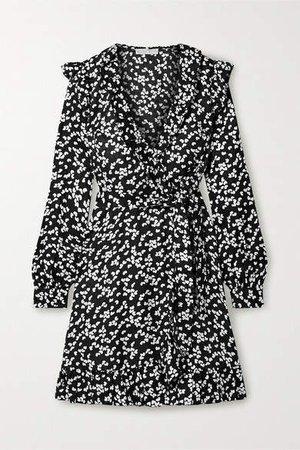 Ruffled Printed Silk-blend Satin-jacquard Wrap Dress - Black