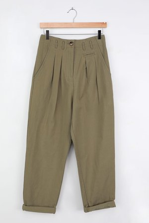 Olive Green Trousers - Twill Pants - High Waisted Trousers - Lulus