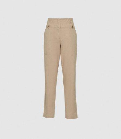 Bradie Stone Cotton Tapered Cargo Trousers – REISS