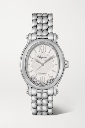 Silver Happy Sport Oval Automatic 29mm stainless steel and diamond watch | Chopard | NET-A-PORTER