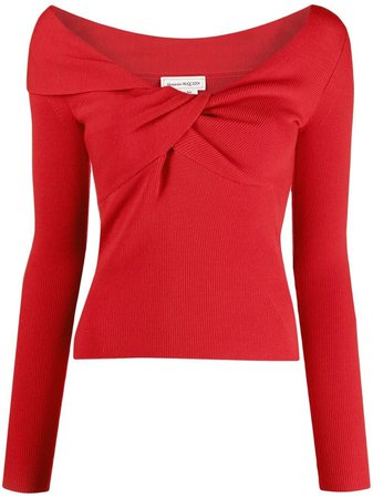 Shop red Alexander McQueen asymmetric twisted jumper with Express Delivery - Farfetch