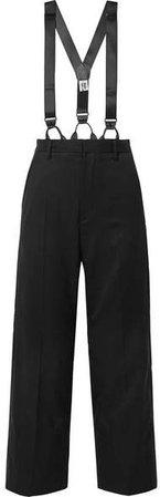 Wool-gabardine Straight-leg Pants - Black