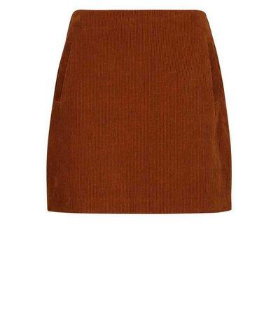 Dark Brown Corduroy Mini Skirt | New Look