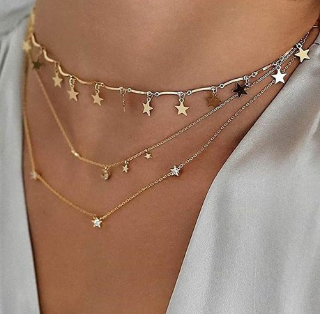 Amazon.com: BERYUAN Women Simple Choker Moon Star Choker Necklace Pendant Necklace Trendy Necklace Teen Necklace Jewelry for Women and Girls Gift for Her (GOLD): Clothing