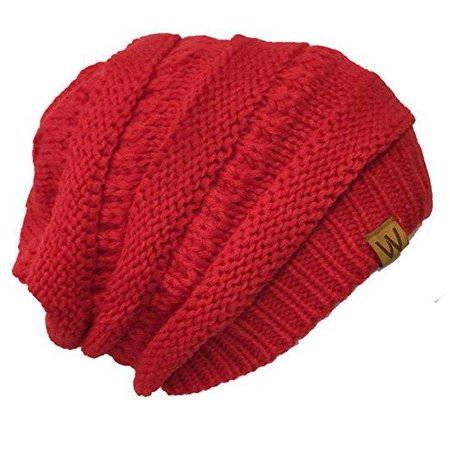 Thick Knit Red Slouchy Beanie for Men & Women