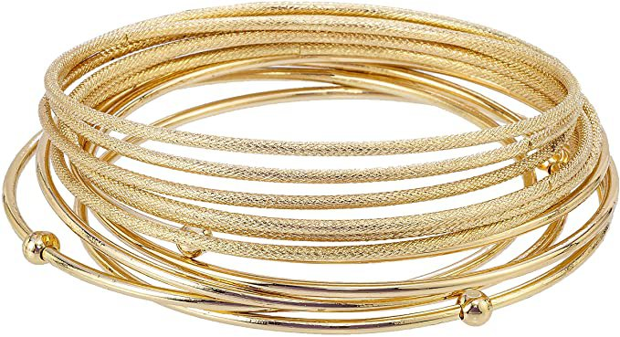 Amazon.com: Madison Tyler Classic Collection 11 Piece Stackable Bangle Bracelet Set Gold Plated - 5 Smooth Bangles with Ball Plus 6 Textured Bangles: Jewelry