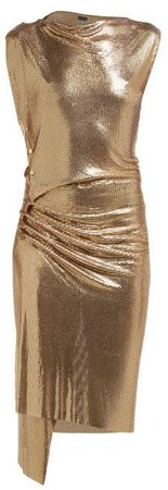 Gathered Chainmail Dress - Womens - Gold