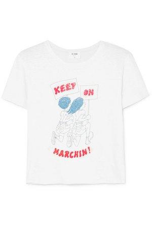 RE/DONE   Printed cotton-jersey T-shirt   NET-A-PORTER.COM